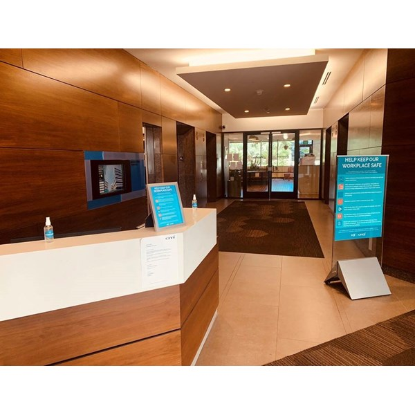 Social Distancing Signs and Graphics for Office Building Lobby
